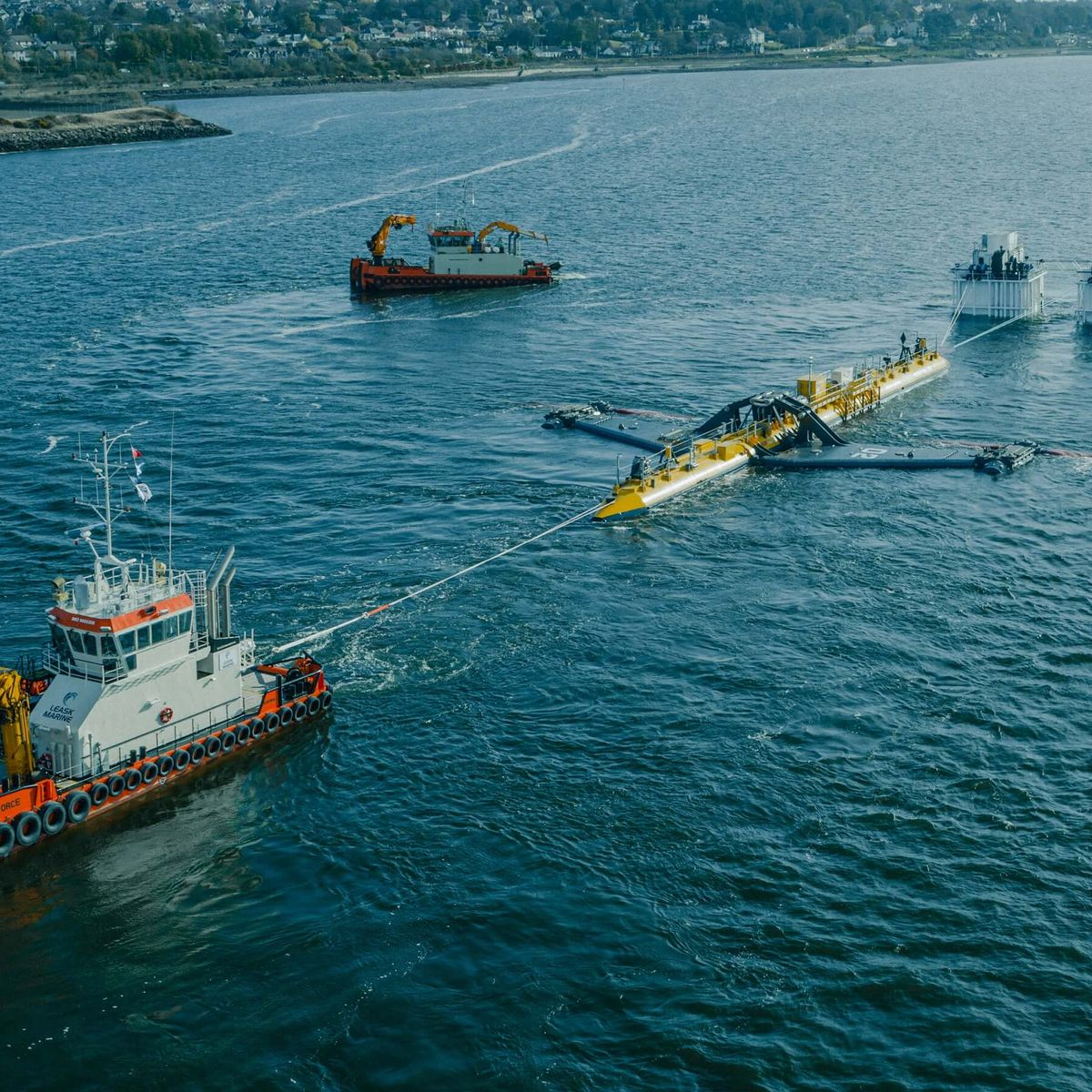 The Orbital Marine Power 2MW turbine is seen here being towed from Fife to be deployed in the Orkneys